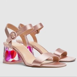 Zara Pink Satin Acrylic Plexi Feather Heel NEW